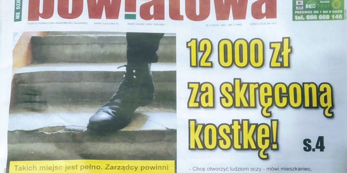 """12 000 zł za skręconą kostkę w budynku """"zarządzanym"""" przez SM ODRA w Oławie"""